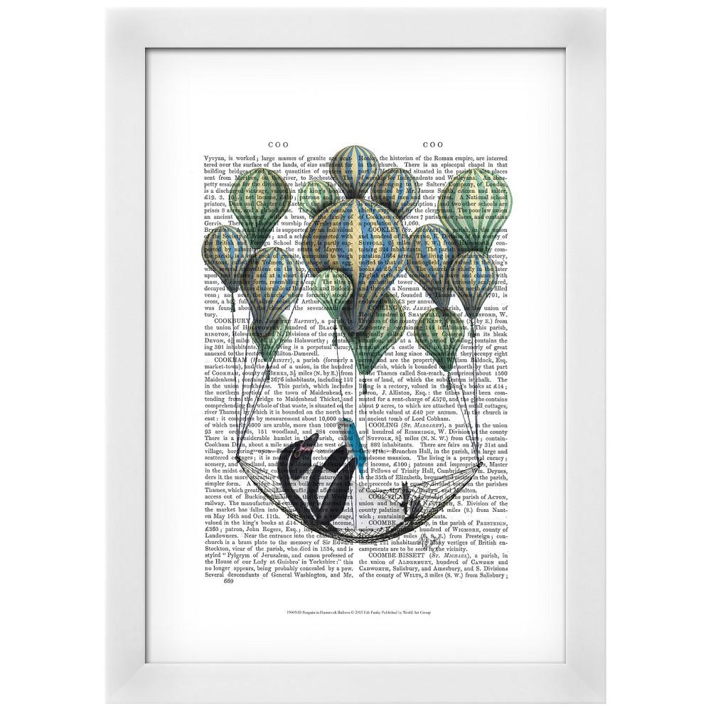 Penguin in Hammock Balloon White Wood Framed Art Print, Great Lakes Green