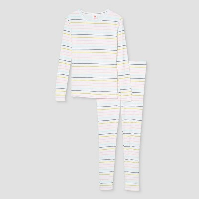 Kids' Pastel Striped 100% Cotton Tight Fit Matching Family Pajama Set - Cream