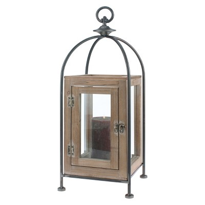 Stonebriar Contemporary Wood and Metal Lantern Candle Holder