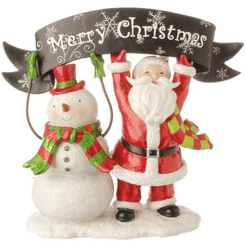 """Raz Imports 10.5"""" Red and White Snowman and Santa Claus with """"Merry Christmas"""" Banner Table Top Decoration - image 1 of 1"""