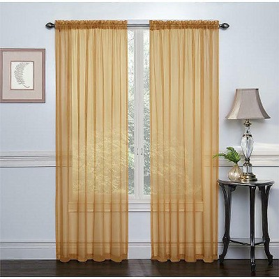 GoodGram 2 Pack: Elegant Sheer Voile Curtain Panels - 52 in. W x 84 in. L, Gold