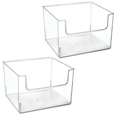 mDesign Plastic Food Storage Organizer Bin for Kitchen, 2 Pack - Clear