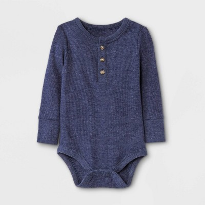 Baby Boys' Henley Thermal Long Sleeve Bodysuit - Cat & Jack™ Navy Newborn