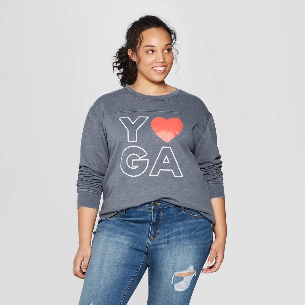 Image of Women's Plus Size Yoga Graphic Sweatshirt - FREEZE (Juniors') - Gray 1X, Size: 1XL
