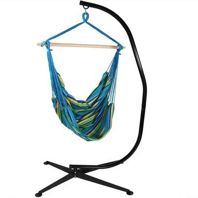 Jumbo Hanging Rope Hammock Chair Swing and C-Stand - Ocean Breeze - Sunnydaze Decor