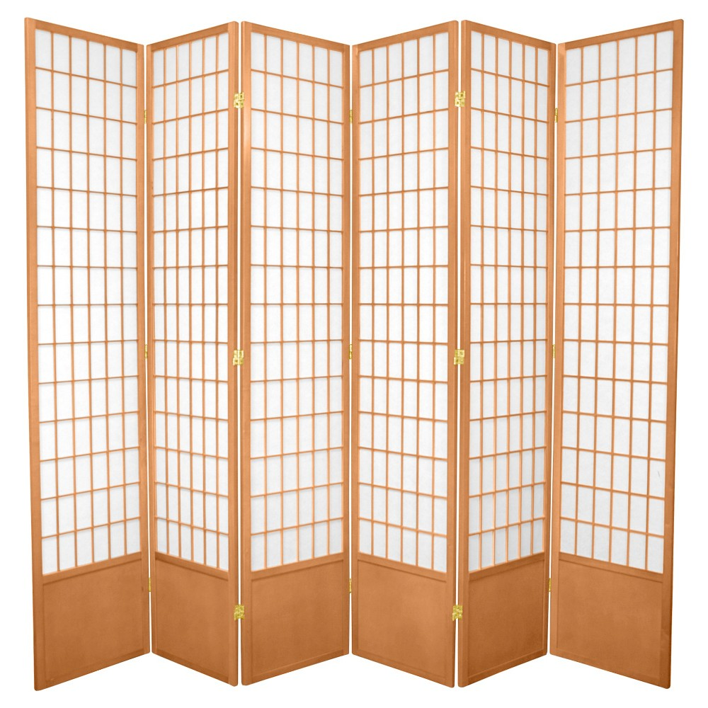 Image of 7 ft. Tall Window Pane Shoji Screen - Natural (6 Panels), Beige