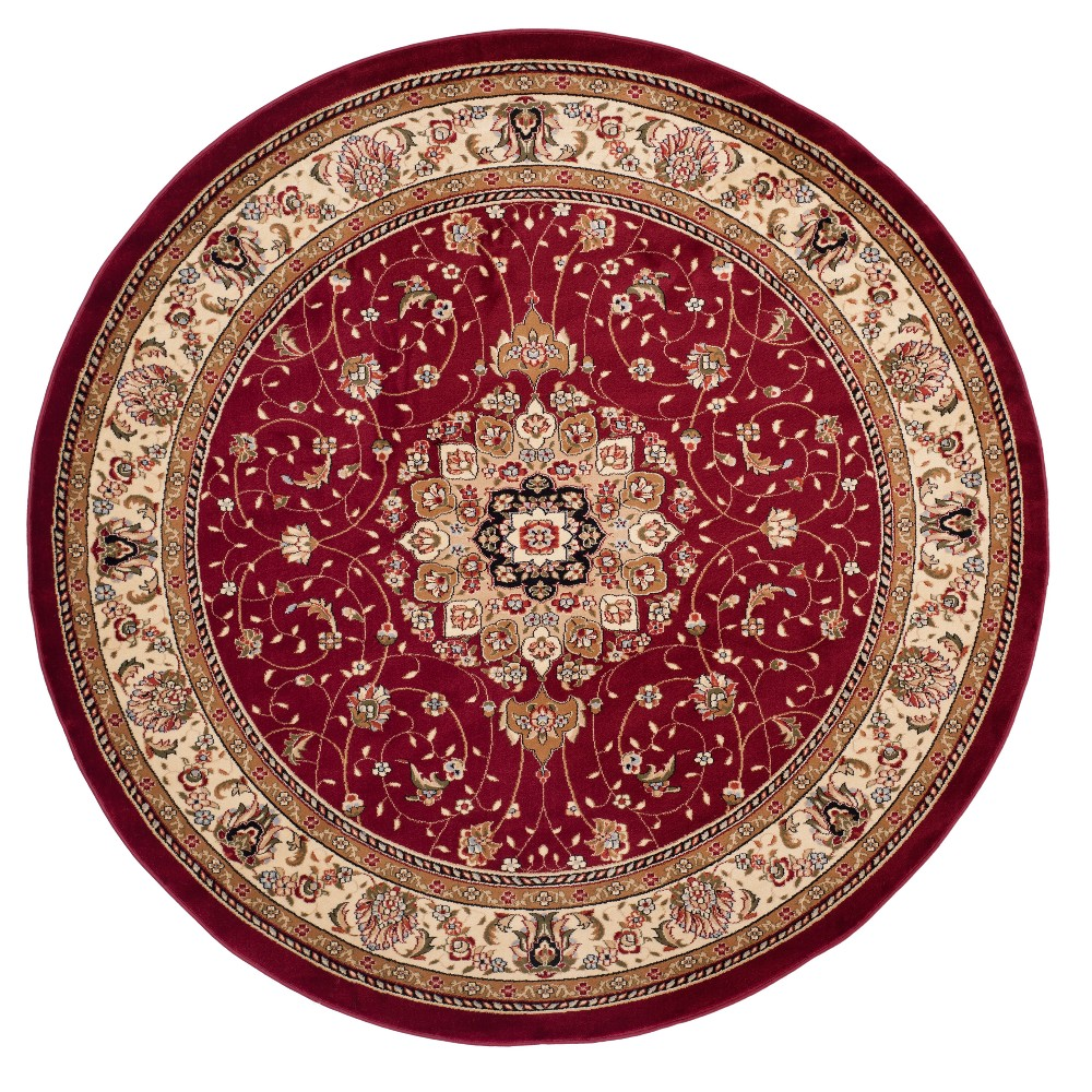 Red/Ivory Floral Loomed Round Area Rug 8' - Safavieh