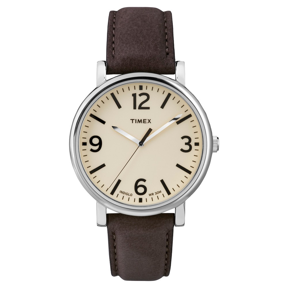 Timex Originals Watch with Leather Strap - Silver/Brown T2P5262B, Adult Unisex, Walnut