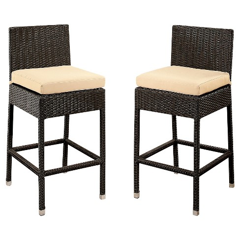 Cailen Outdoor Wicker Bar Stools With Cushions Set Of 2 Espresso Abbyson Living