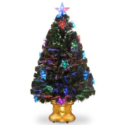 3ft led fiber optic fireworks tree slim with star decorations