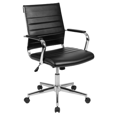 Flash Furniture Mid-Back LeatherSoft Contemporary Ribbed Executive Swivel Office Chair