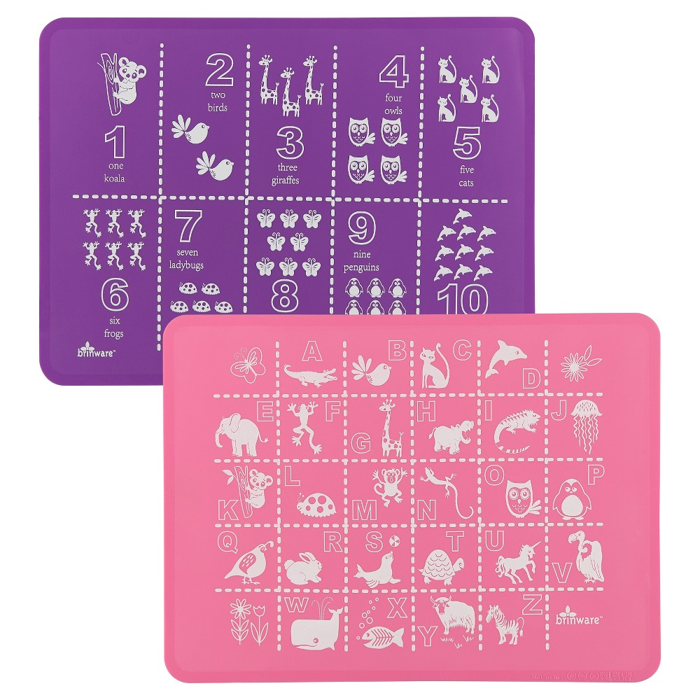 "Image of ""15"""" x 11"""" 2pk Silicone ABC & 123 Placemats Pink/Purple - Brinware"""