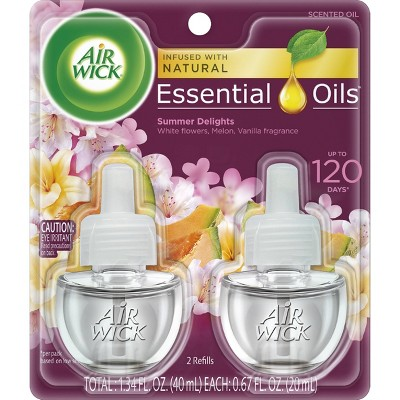 Air Wick Life Scents Scented Oil Plug in Air Freshener Refills, Summer Delights with White Flowers - Melon & Vanilla Scent - 2ct