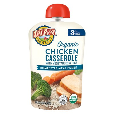Earth's Best Organic Chicken Casserole with Vegetables and Rice Baby Food Pouch - 4.5oz