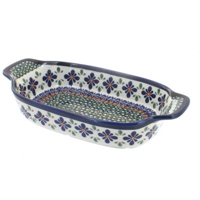 Blue Rose Polish Pottery Mosaic Flower Rectangular Serving Dish