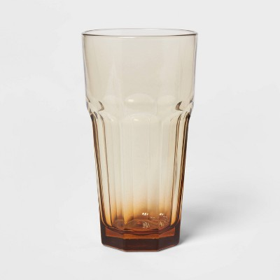 16oz Glass Tremont Tall Faceted Tumbler Brown - Threshold™