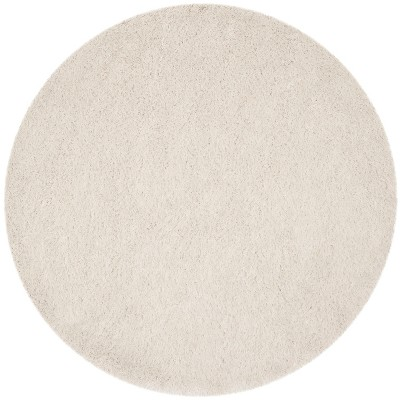 8' Round Solid Shag/Flokati Tufted Area Rug Gray - Safavieh