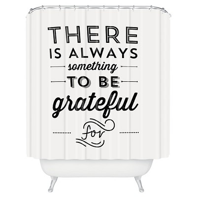 Allyson Johnson Something To Be Grateful For Shower Curtain Black - Deny Designs®