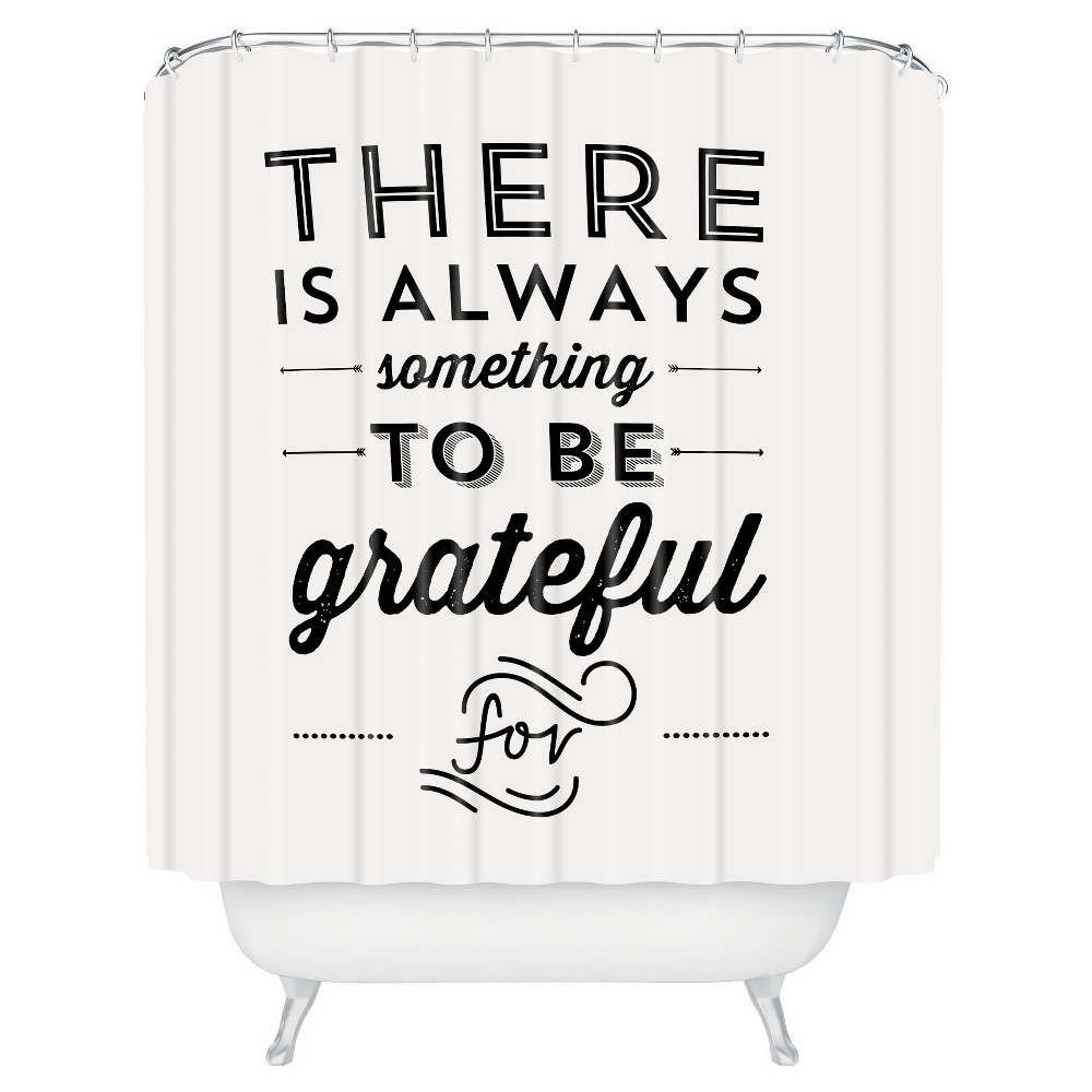 Image of Allyson Johnson Something To Be Grateful For Shower Curtain Black - Deny Designs, Black White