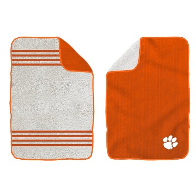 NCAA Clemson Tigers Cable Knit Embossed Logo with Sherpa Stripe Throw Blanket