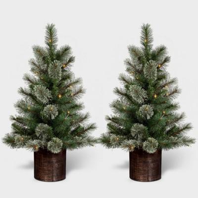 3ft/2pk Pre-lit Artificial Christmas Tree Virginia Pine Clear Lights - Wondershop™