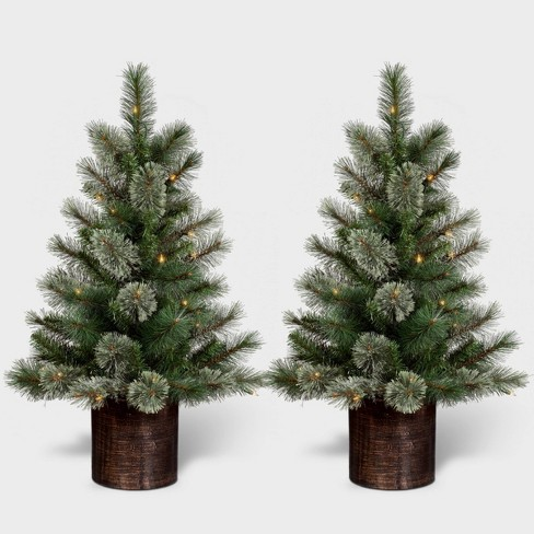 3ft/2pk Pre-lit Artificial Christmas Tree Virginia Pine Clear Lights - Wondershop™ - image 1 of 4