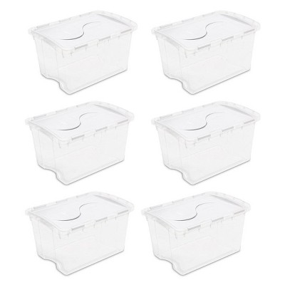 Sterilite 19148006 48 Quart Clear Hinged Plastic Storage Container (6 Pack)