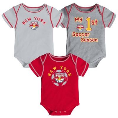 MLS New York Red Bulls Baby 3pk Bodysuit Set