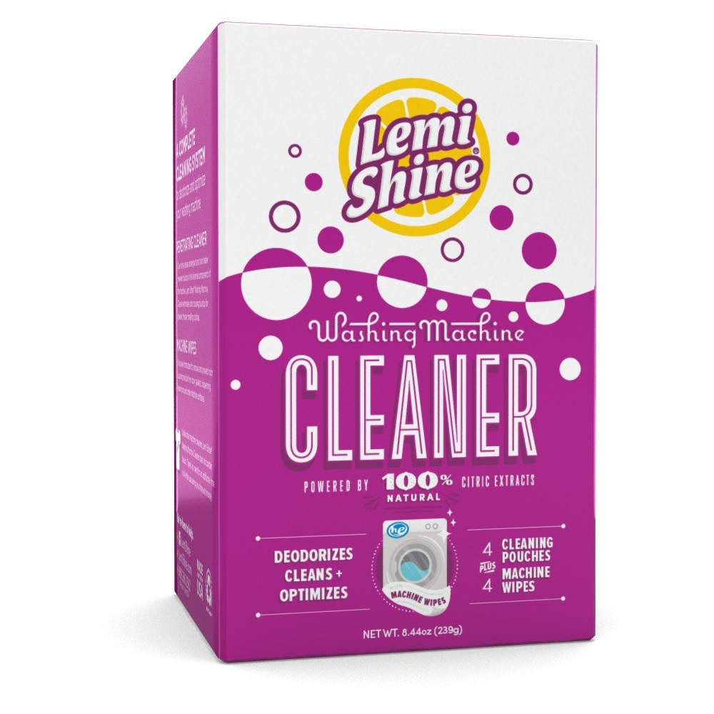 Lemi Shine Natural Citrus Extracts Washing Machine Cleaner Pouches - 4 ct + 4 Machine Wipes Keep your washing machine fresh so you can keep your clothes even fresher with the Lemi Shine Washing Machine Cleaner. These washing machine cleaning pouches help to deodorize and clean your machine, without the need to rinse it afterward. This product is made with 100 percent natural citrus extracts, so you can feel good about every cycle. This pack also includes four machine wipes that can clean any buildup that the cleaning pouches can't reach.