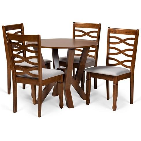 5pc Ariane Dining Set Gray Walnut Brown Baxton Studio Target
