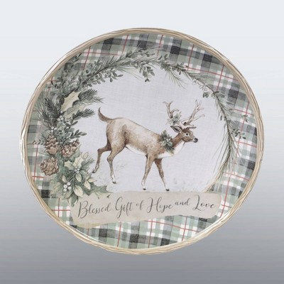 """13"""" Earthenware Holly and Ivy Round Serving Platter - Certified International"""
