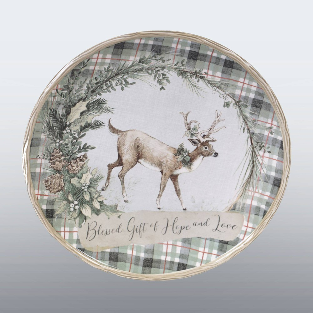 "Image of ""13"""" Earthenware Holly and Ivy Round Serving Platter - Certified International"""