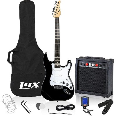 LyxPro Electric Guitar 39'' inch Complete Beginner Starter kit Full Size with 20w Amp, Package Includes All Accessories, Digital Tuner, Strings, Picks, Tremolo Bar, Shoulder Strap, and Case Bag - Black