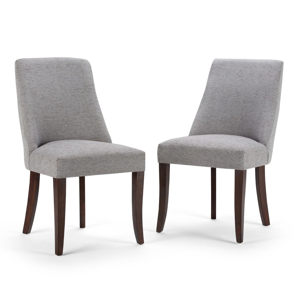 Haley Deluxe Dining Chair Set of 2 Gray Linen Look Fabric - Wyndenhall