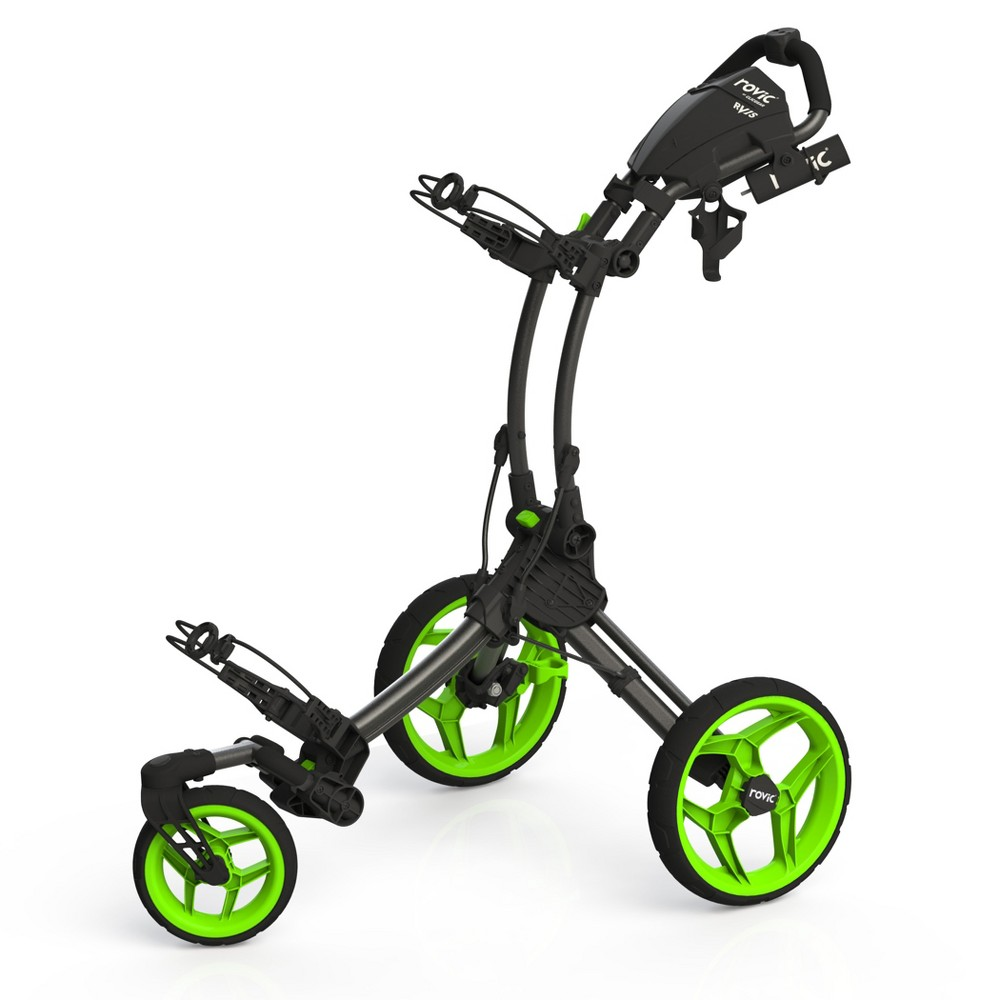 Clicgear Rovic RV1S Golf Push Cart - Charcoal/Lime (Grey/Green)