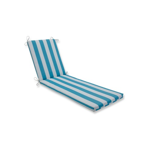 Indoor/Outdoor Cabana Stripe Turquoise Chaise Lounge Cushion - Pillow Perfect - image 1 of 1