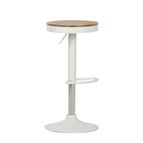 Crea Adjustable Metal Stool With Wood Seat White - South Shore - image 1 of 5