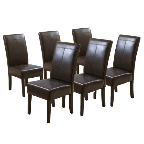 Set Of 6 Pertica T-stitch Dining Chairs Chocolate Brown
