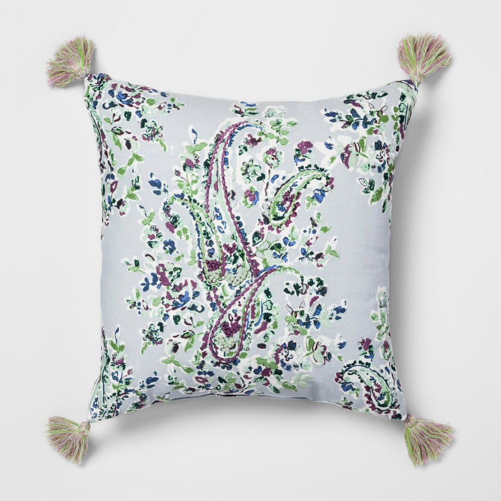 Paisley Embroidered Throw Pillow - Threshold