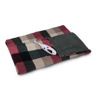 "72"" X 50"" Extra Long Microplush Electric Throw Blanket Plaid Houndstooth - Biddeford Blankets"