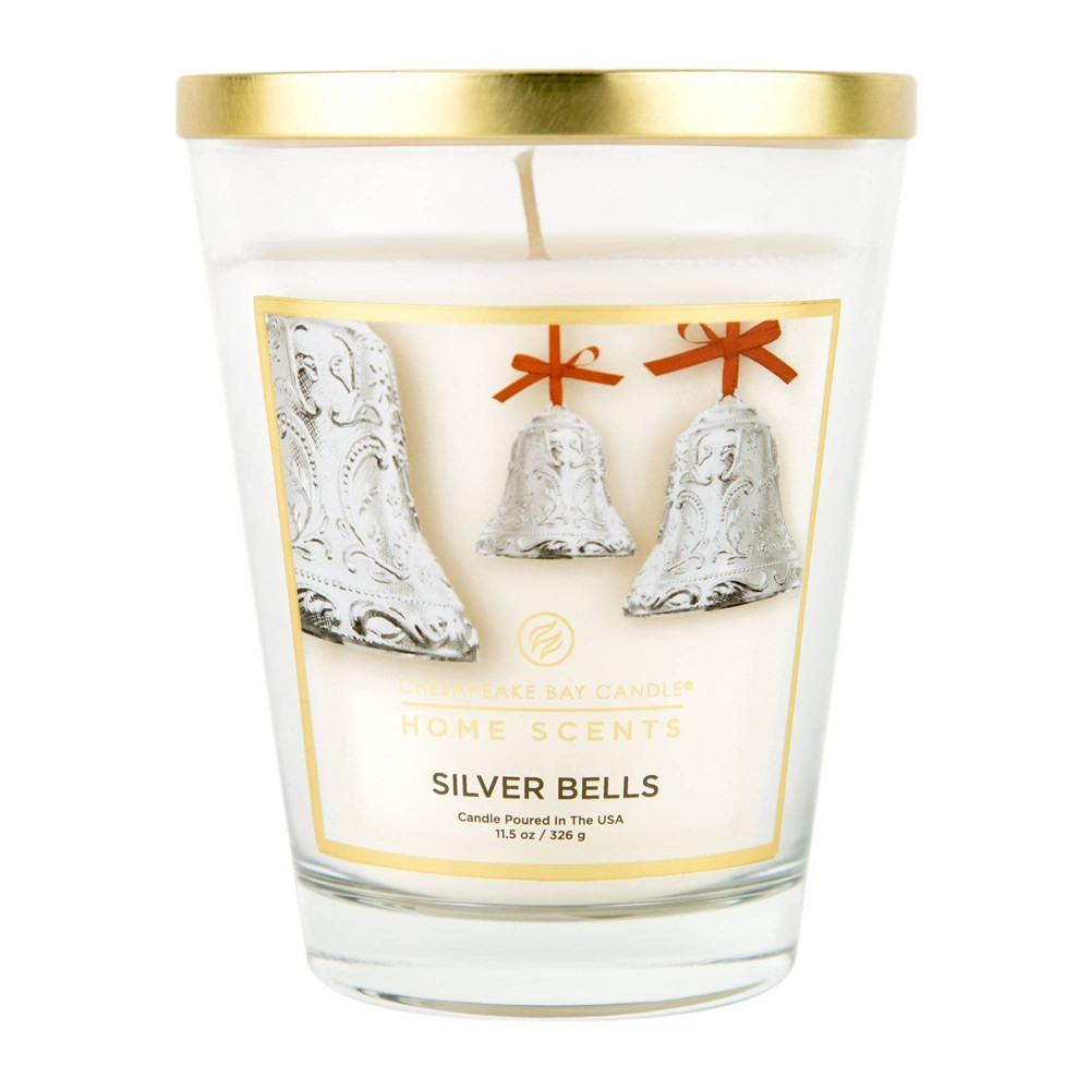 Image of 11.5oz Glass Jar Candle Silver Bells - Home Scents by Chesapeake Bay Candle, White