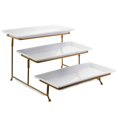 Gibson Elite Porcelain 3-Tiered Serving Set with Gold Metal Stand
