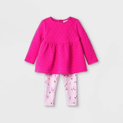 Baby Girls' Quilted Tunic Top & Bottom Set - Cat & Jack™ Pink 0-3M