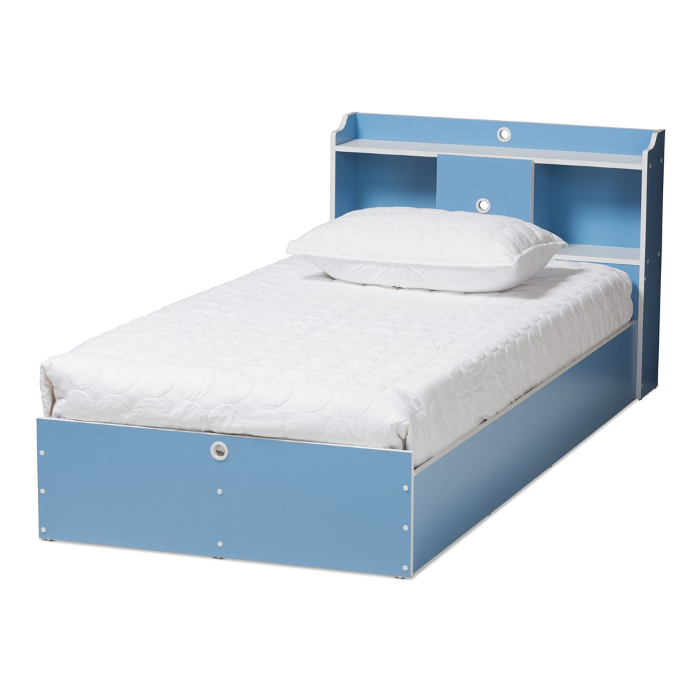 Image of Aeluin Contemporary Children's Finished Platform Bed Blue/White - Baxton Studio, White Blue