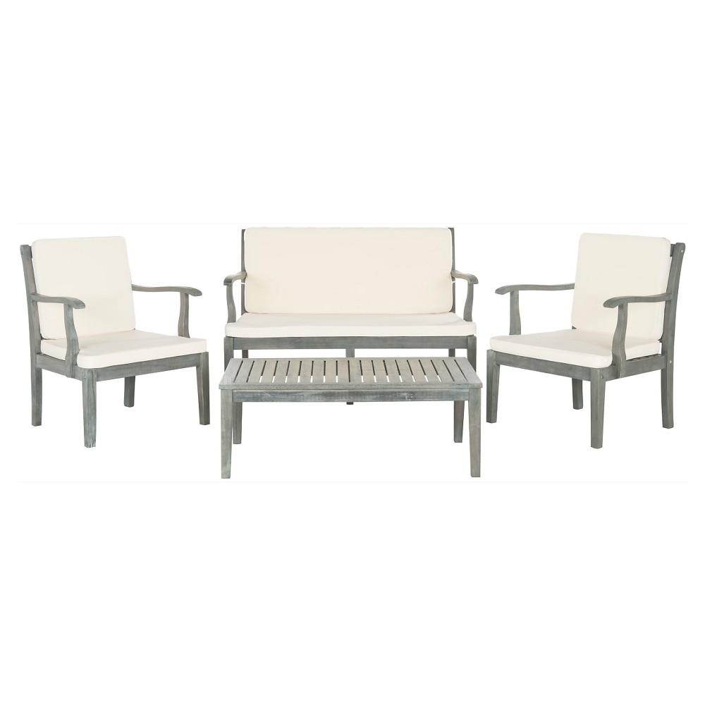 Bradbury 4pc Acacia Wood Patio Conversation Set - Gray - Safavieh