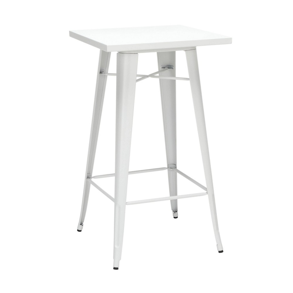 "Image of ""24"""" Industrial Modern Square Bar Table Galvanized Steel Indoor/Outdoor Table White - OFM"""