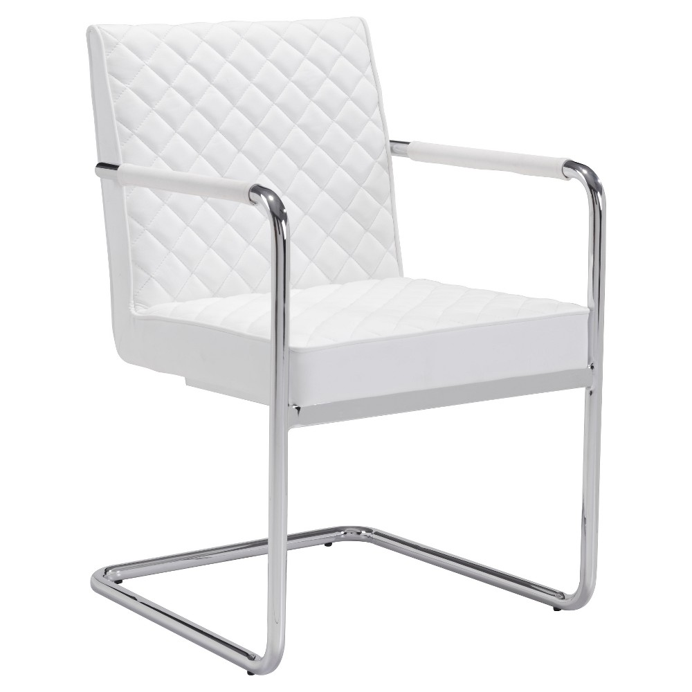 Modern Upholstered and Chromed Steel Cantilever Dining Chair (Set of 2) - White - ZM Home