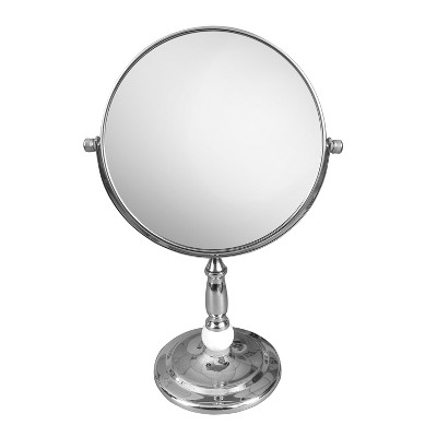 Freestanding Bath Magnifying Makeup Mirror Light Silver 12  - Elegant Home Fashions