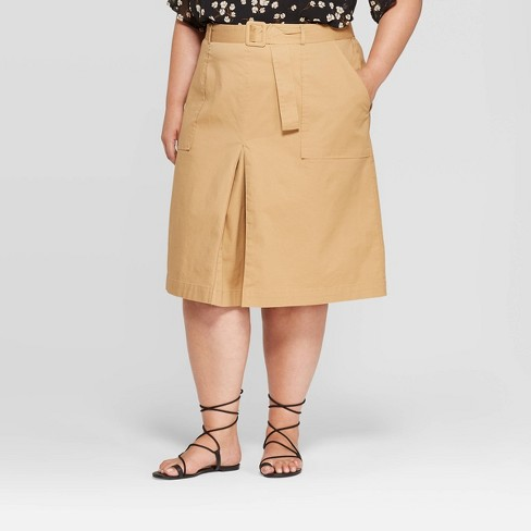 Women's Plus Size Belted Utility Skirt - Ava & Viv™ - image 1 of 2