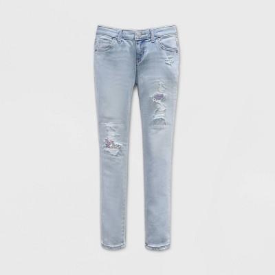 Girls' Flip Sequin Distressed Skinny Jeans - Cat & Jack™ Light Wash